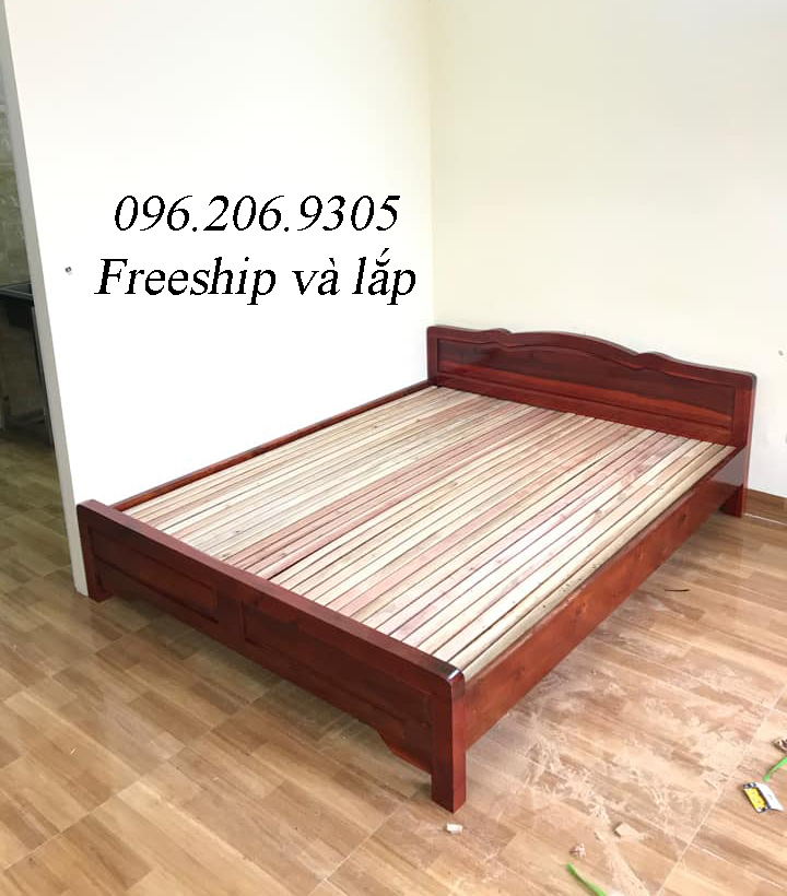 Giường 1.8x2m gỗ keo tự nhiên