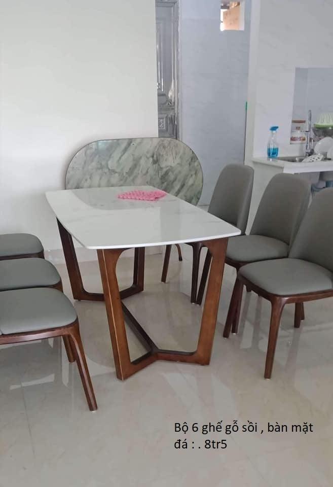 Bộ bàn ăn 6 ghế sồi, mặt đá (mẫu 1)