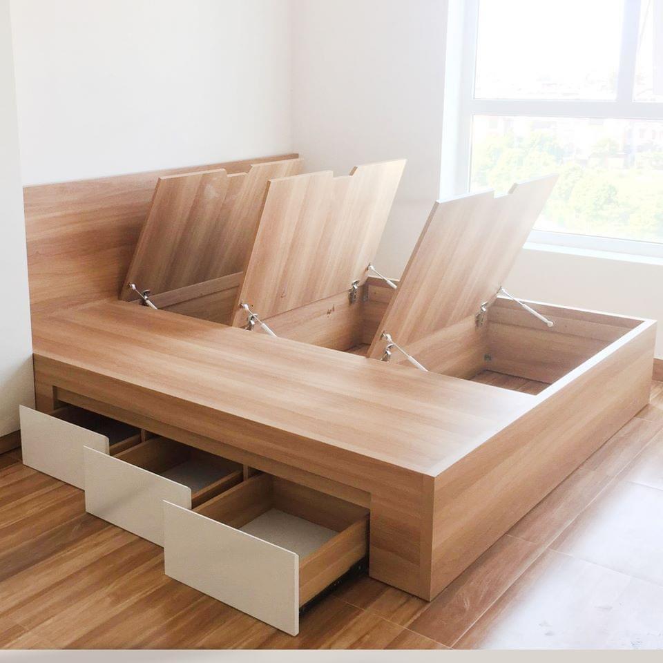 Giường ngủ thông minh đầu trơn 1.6x2m và 1.8x2m