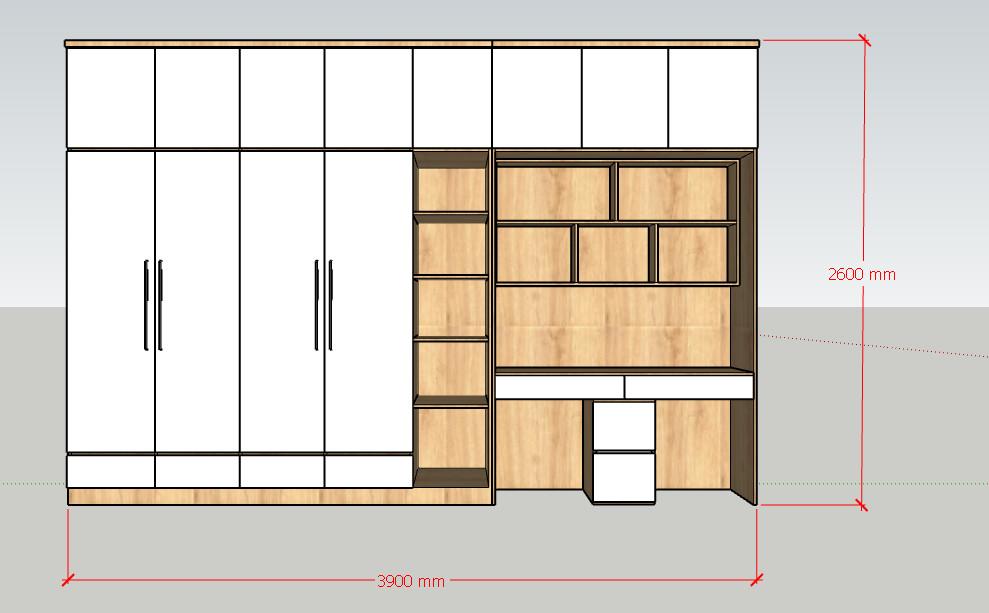 Tủ quần áo 3.9x2.6m kết hợp bàn học