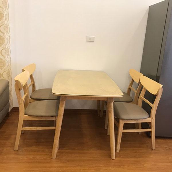 Bộ bàn ăn mango 4 ghế gỗ cao su