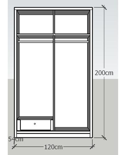 Tủ áo 1.2x2m 2 cánh lùa